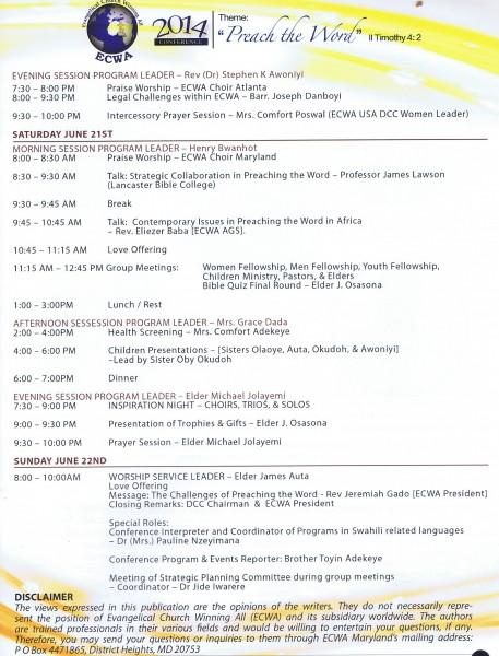 ECWA Program Leadership Roles Part II 06-2014