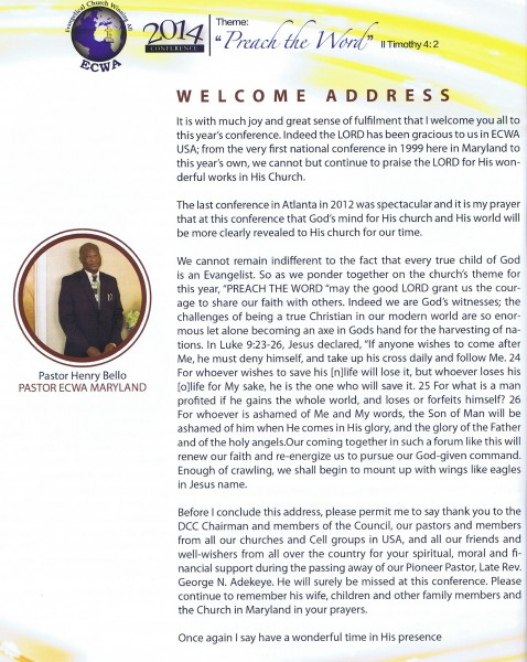 Welcome Pastor