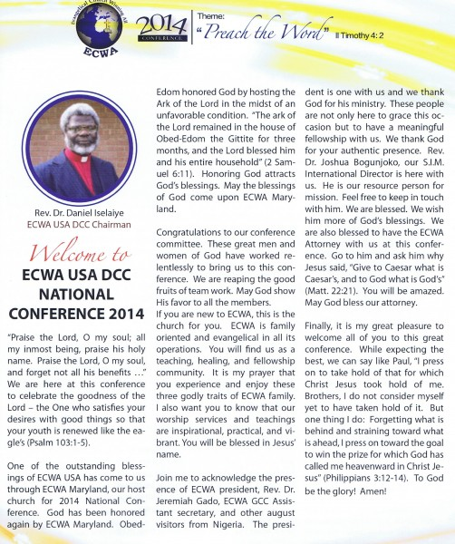 Welcome Address by Rev Dr Daniel Iselaiye, ECWA USA DCC Chairman 06-2014